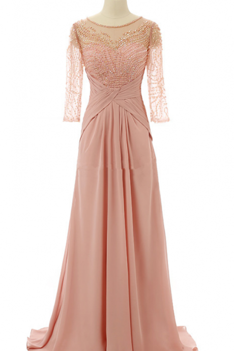 Scoop Sheer Beaded Chiffon A-line Floor-Length Prom Dress, Evening Dress