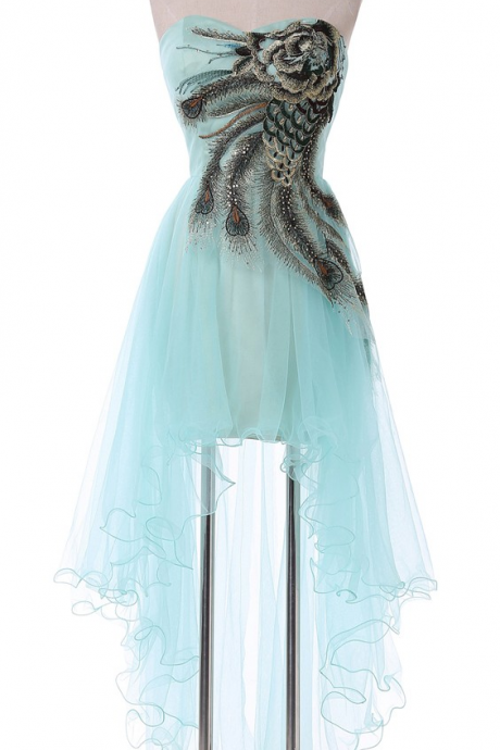 Sweetheart Sexy Peacock Pale Turquoise Blue Homecoming Dresses Asymmetrical Short Front Long Back