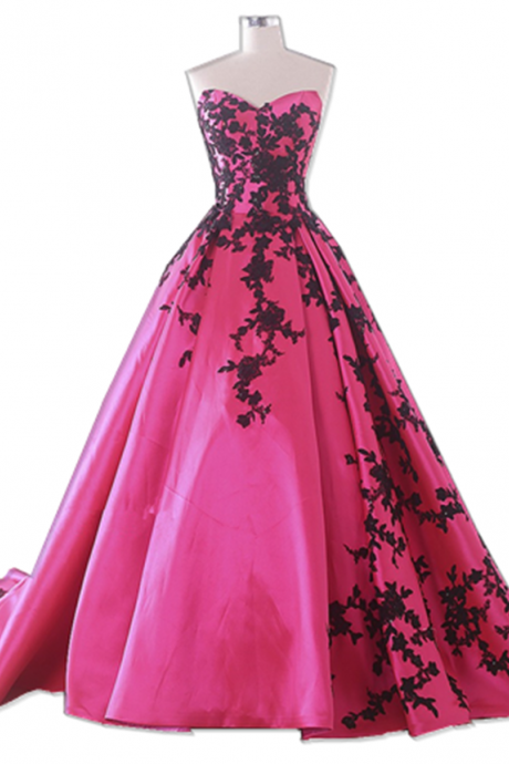 Long Train Wedding Dress Rose Red Color Appliques Taffeta Off The Shoulder Ball Gown Dress Real Picture