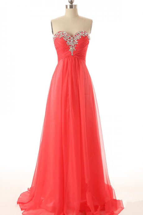 Sweetheart with Crystal and Pleat Beach Long Chiffon Prom Dress Formal Party Evening Gown Hot Sale