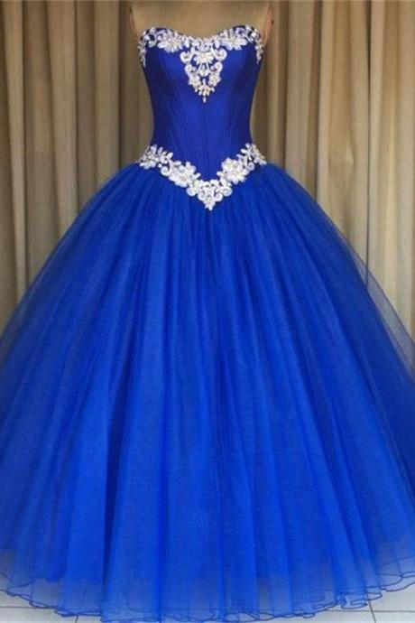 Royal Blue Prom Formal Gowns Strapless Applique Tulle Ball Gown Quinceanera Dresses for Sweet Prom Party Dress