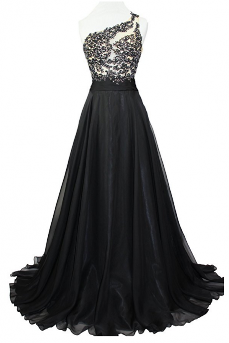 Women's One Shoulder Lace Sheer Top Prom Pageant Formal Dress