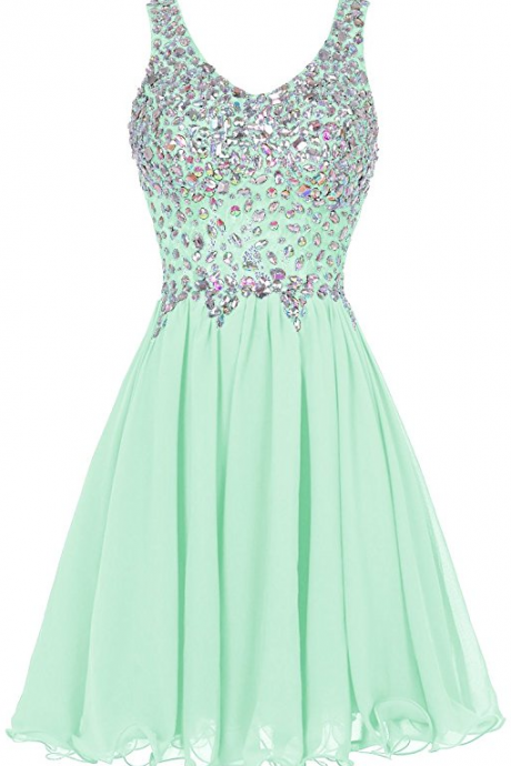 Chiffon Straps Prom Dress Short Beading Homecoming Party Dress