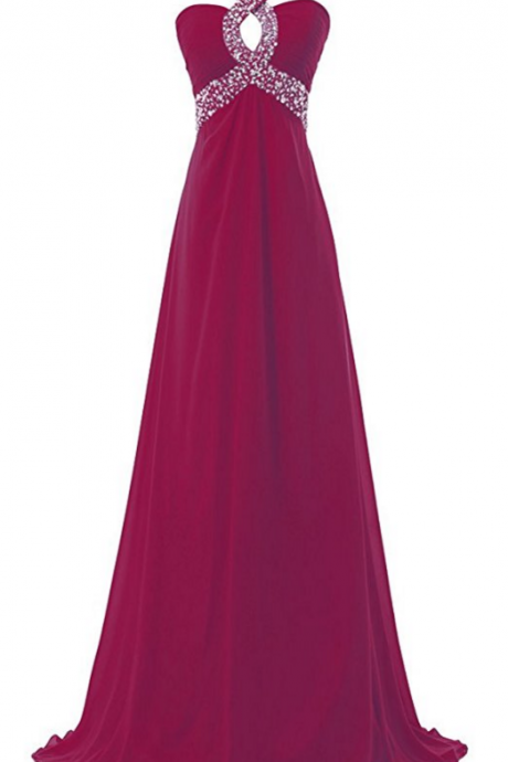 Evening Gowns Chiffon Beaded Prom Bridesmaid Dresses