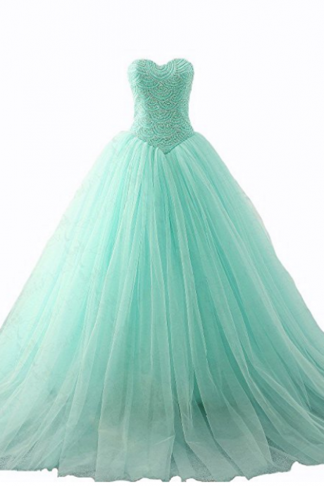 Long Beaded Ball Gown Evening Prom Dress Sweetheart Beading Quinceanera Dresses