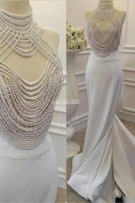 2017 Fashion Heavy Pearls Mermaid Prom Dress Real Picture High Neck Evening Dress Long Formal Evening Gown Dress Robe de soiree