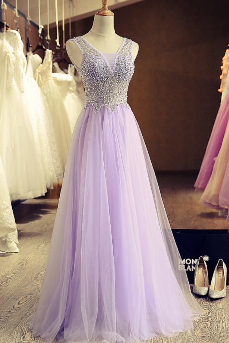 Lovely Lavender Sleeveless A-Line Beading Bandage Tulle Prom Dress/Evening Dress