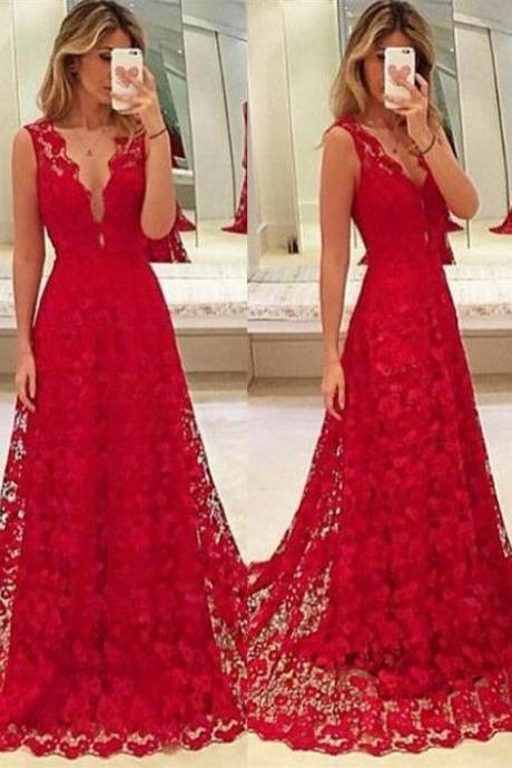 Custom Made Red Lace Prom Dress,V-Neck Party Dress,Sleeveless Party Dress,High Quality