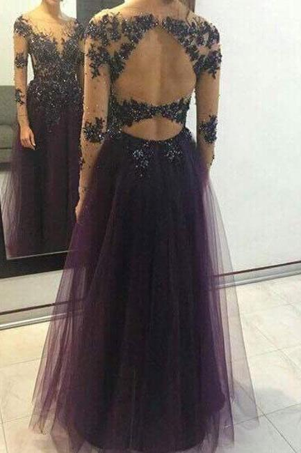 Charming Prom Dress,Long Sleeve Prom Dresses,Sexy Tulle Beaded Prom Dress,Elegant Evening Dress,Formal Dress