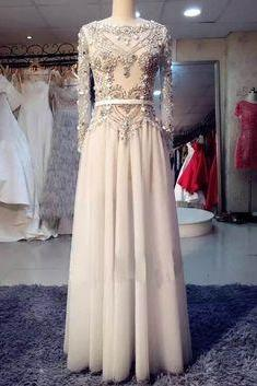 Ivory tulle long sleeves beading rhinestone long prom dresses,evening dresses