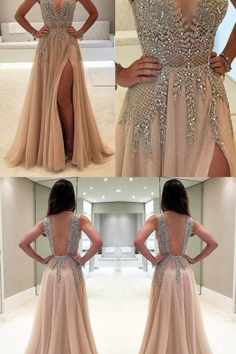 A-Line Deep V-Neck Sweep Train Sleeveless Champagne Tulle Prom Dress with Beading