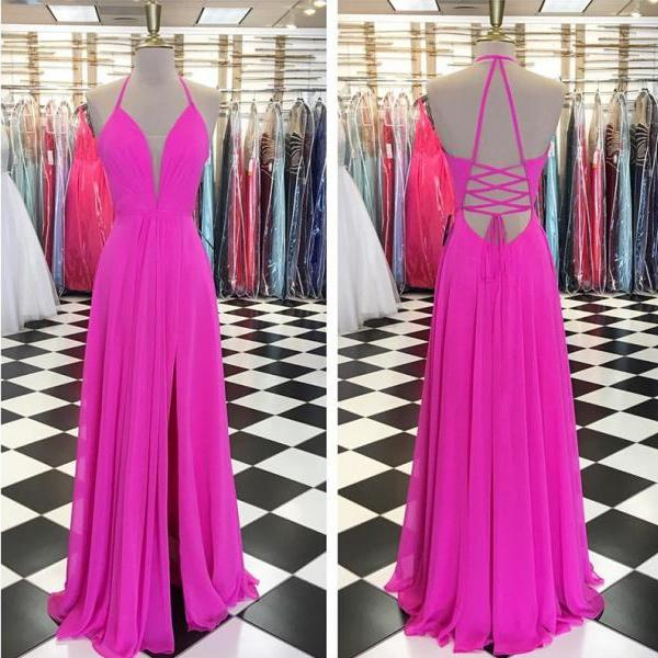 prom dress,halter prom dress,sexy prom dress,long chiffon evening dress,elegant formal dress,backless prom dress