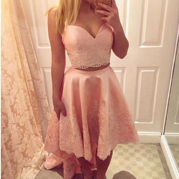 pink prom dress,two piece prom dress,high low prom dresses,elegant homecoming dresses