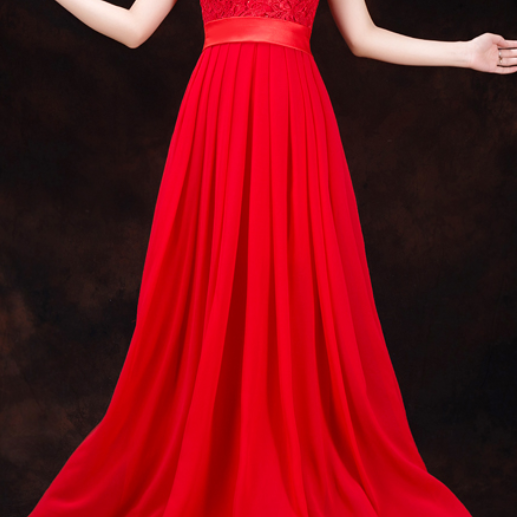 Cap sleeves lace chiffon red floor length zipper back party dress