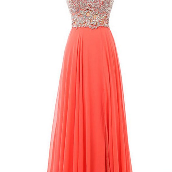 Orange chiffon beaded prom dresses,V-neck A-line open back long evening dresses for teens,long prom dress with straps