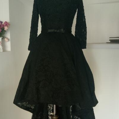 Black High Low Bling Bling Beading Prom Dresses Real Photo Lace up elegant Party Dresses