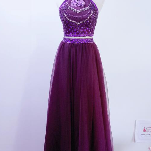 Real Photos Two Pieces Prom Dresses New Fashion Purple ,evening dresses