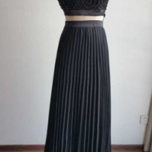 Two Pieces Prom Dress with Pleated Skirt