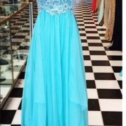 Beaded Embellished Bateau Neck Sleeveless Floor Length Chiffon A-Line Formal Dress Featuring Open Back, Prom Dress
