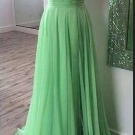 Custom Made Green Sleeveless Illusion Neckline Floor Length Prom Dress with Chiffon Skirt
