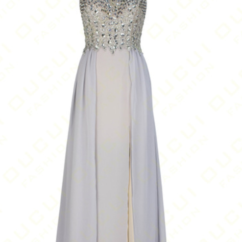 Real photo chiffon crystals are best dressed in formal PROM evening gowns