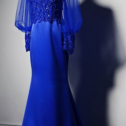 Royal Blue Lace Appliqués Mermaid Long Prom Dress, Evening Dress with Long Puffed Sleeves