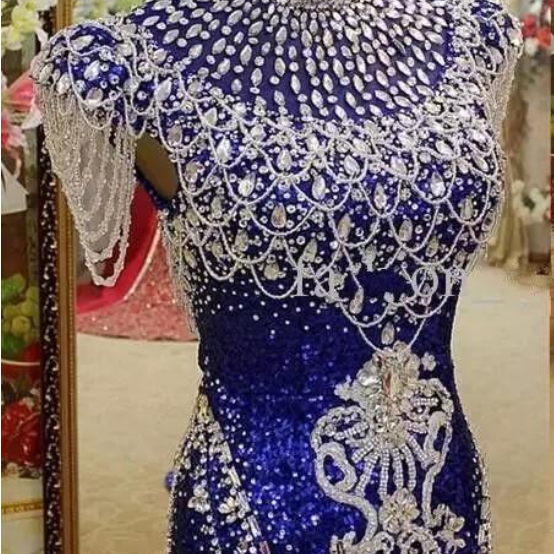 The royal blue - neck mermaid evening gown, a real evening gown for women's crystal sequins