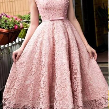 New Blush Pink Elegant Tea Length Full Lace Prom Dress Bateau Neck Cap Sleeves homecoming Gown Dubai with Bow