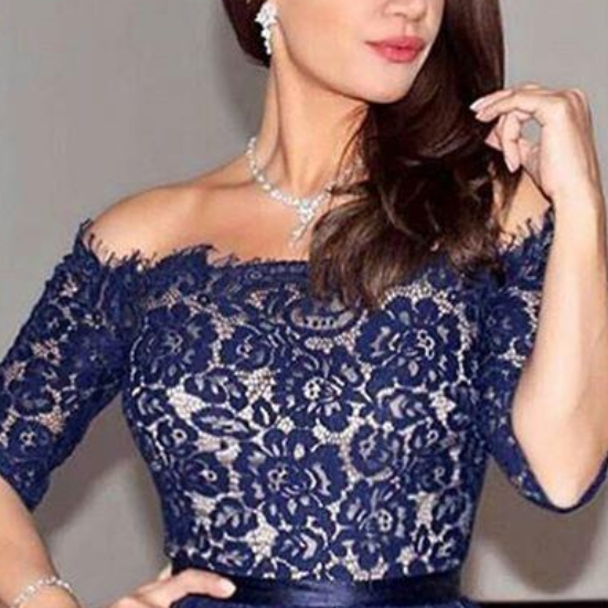 Navy Blue Applique Lace Tea Length Cocktail Dresses For Women Formal Party Wear Custom Sexy Off Shoulder Half Sleeves A Line