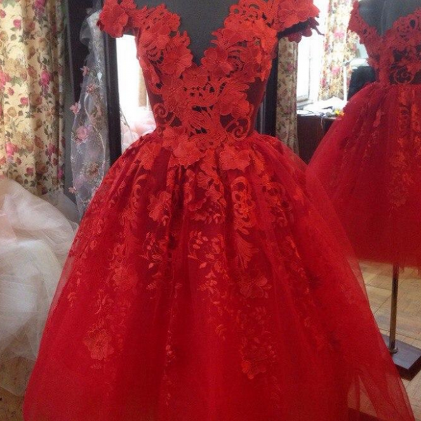 Attractive Red Homecoming Dresses For Juniors Sheer Jewel Neck A-Line 3D Appliques Short Prom Gowns Knee Length Tulle Party Dress