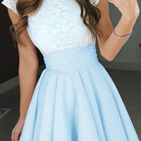 Simple Two Color Homecoming Dresses Lace Top Chiffon Skirt Sexy Mini Party Prom Dress A-Line Arabic Party Cocktail Gowns