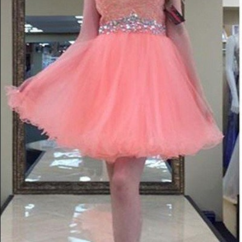 Sweet Sleeveless Homecoming Dress, Beading Homecoming Dress, Lace Keyhole Back Homecoming Dress, Cocktail Dress,