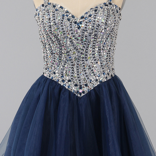 Beautiful Dark Navy Homecoming Dress, Spaghetti Straps A-line Sweetheart Homecoming Dresses, Crystal Beaded Tulle Short , Homecoming Dresses