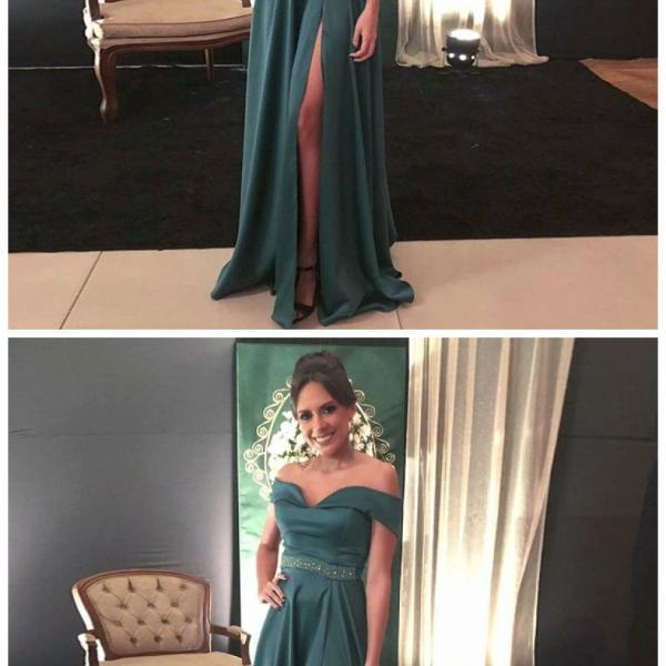 A-Line Off the Shoulder Dark Green Split Front Beaded Prom Dress