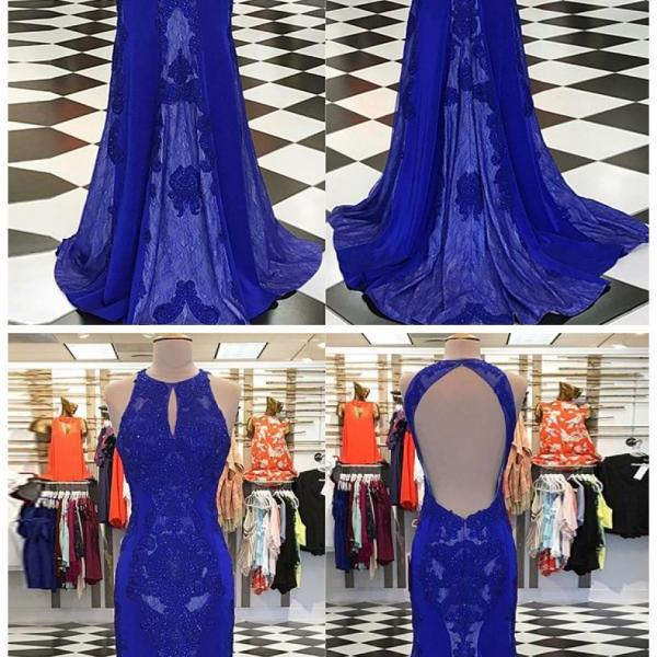 Mermaid Round Neck Keyhole Open Royal Blue Prom Dress with Lace Beading