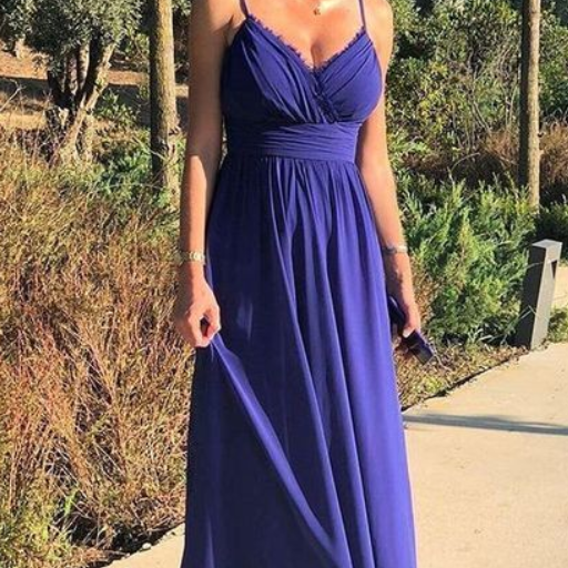 Simple Sexy Spaghetti Straps V Neck Chiffon Long Prom Dress, Elegant Evening Party Dress