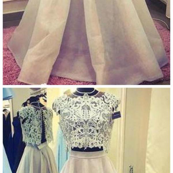 Two Piece Prom Dresses A-line Floor-length Halter Organza Long Lace Chic Prom Dress