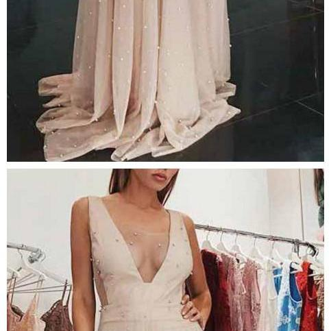 Prom Dresses Straps Sheath Beading Long Tulle Beautiful Prom Dress