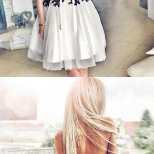 A-Line Sweetheart Lace-Up White Tulle Homecoming Dress with Lace