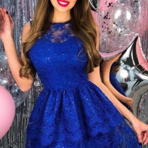 vintage royal blue lace short homecoming dresses for junior , simple a line tiered short prom dress for teens