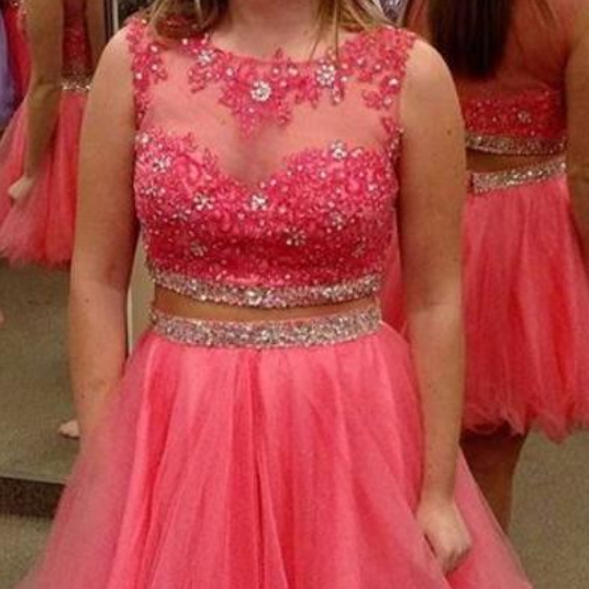 2 Piece Homecoming Dresses,Silver Beading Homecoming Gowns,Short Prom Gown,Pink Sweet 16 Dress,Grey Homecoming Dress,