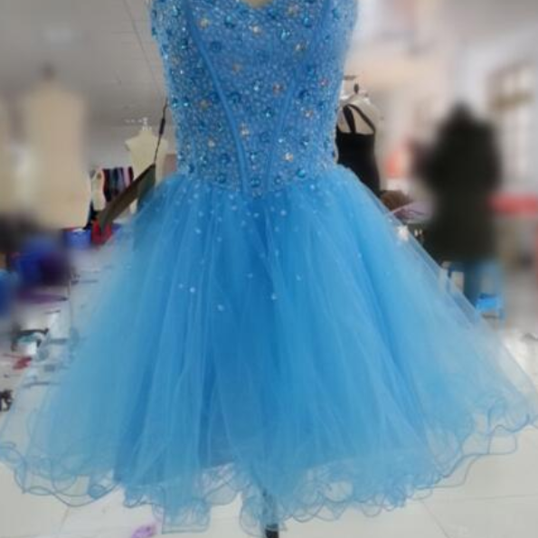 Blue Homecoming Dress,Short Prom Dresses,Homecoming Gowns,Fitted Party Dress,Silver Beading Prom Dresses,Sparkly Cocktail Dress,backless Homecoming Gown