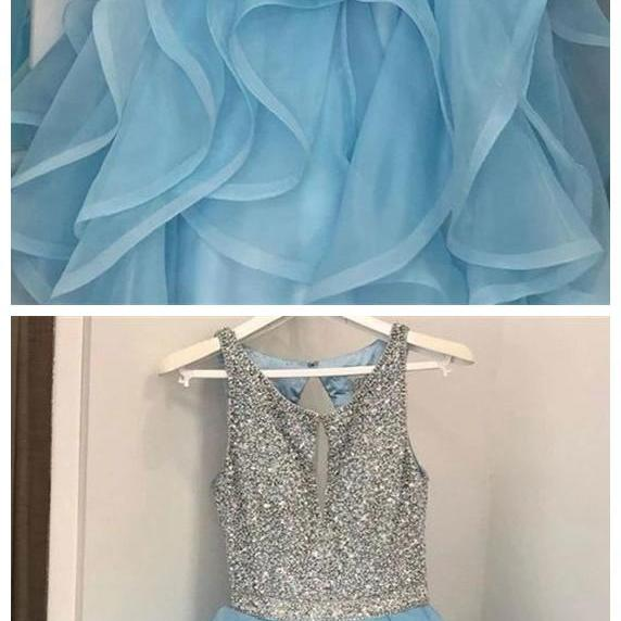Spark Queen blue prom dresses, ruffled blue prom dresses, long blue prom dresses, aline blue prom dresses, glitter blue prom dress