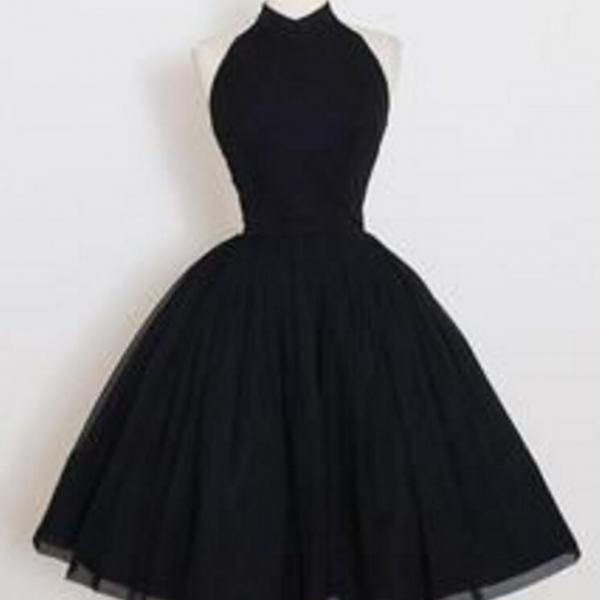 High Neck Black Tulle Homecoming Dresses ,Short Homecoming Dresses