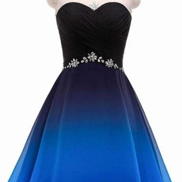 A Line Round Neck Beads Blue and Black Short Dresses, Ruffles Straps Homecoming Dresses, Cocktail Dresses