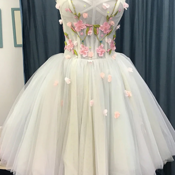 Short Sweetheart Homecoming Dress, Tulle Flowers Party Dress