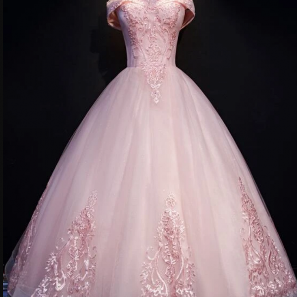 Ball Gown Long Tulle Party Dress, Off Shoulder Prom Dress