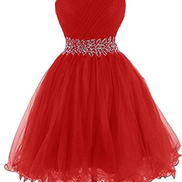 Red Beaded Sweetheart Tulle Homecoming Dress, Red Party Dress