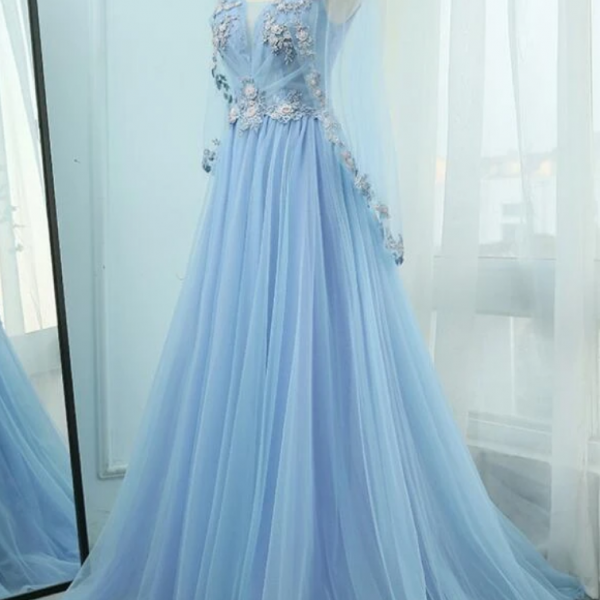 Beautiful Tulle Light Blue Floor Length Prom Dress, New Party Dress