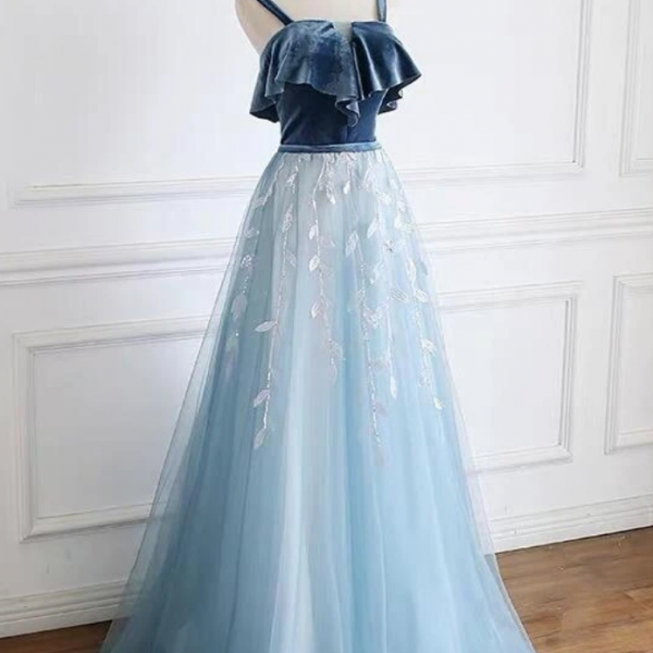 Blue Straps Beautiful Tulle And Velvet Long Party Dress, A-Line Blue Evening Dress